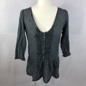 Aerie Gray Floral Pleated Tunic Size M